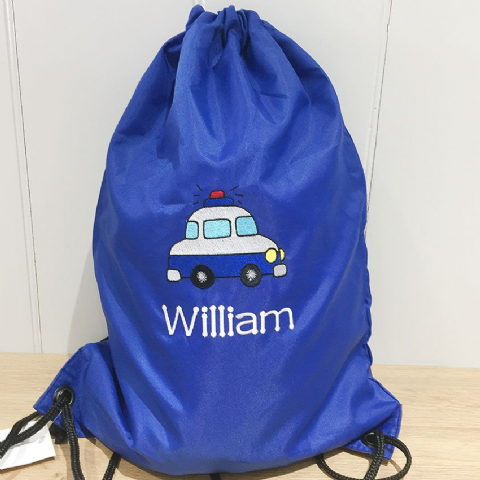 Personalised POLICE CAR Drawstring PE Swim Bag